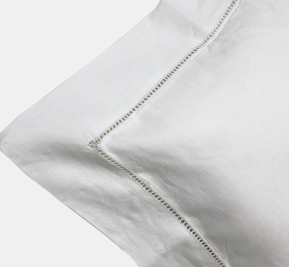 Blanco Raya Federe Cuscini Coppia di federe per letto 50x80 cm Lino con Ricamo Gigliuccio colore Bianco  Gigliuccio1  105616