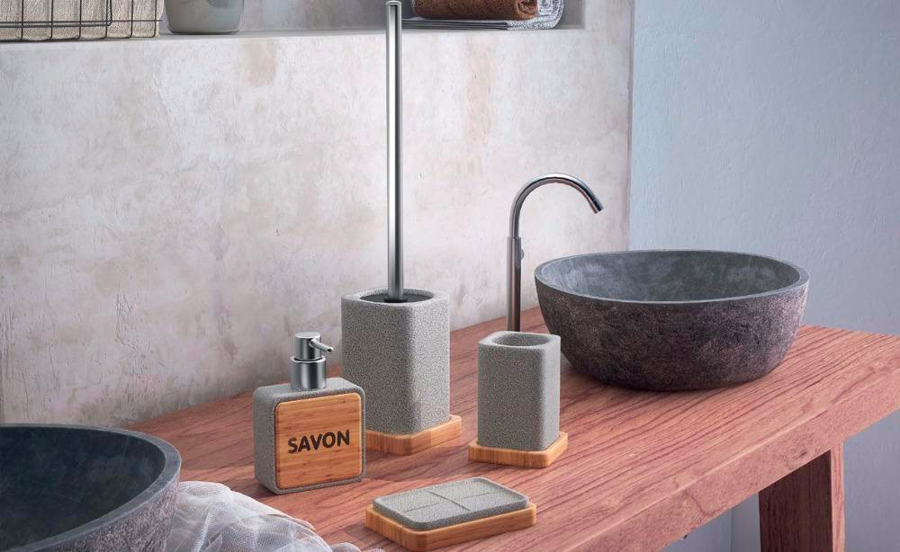 amazing gedy per bagno bicchiere in resina e bamb colore