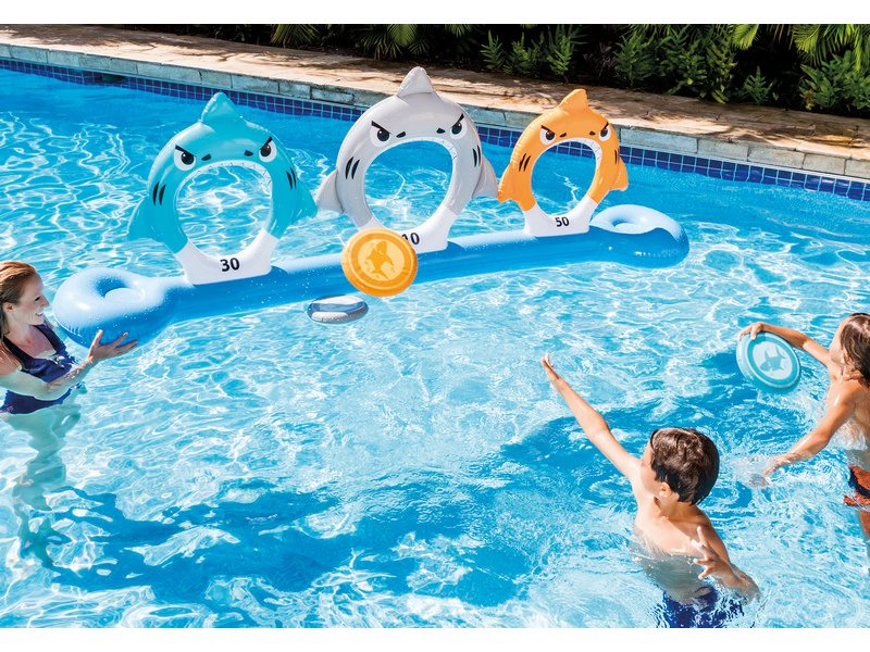 Intex Gioco Galleggiante Piscina Mare Gonfiabile per bambini con Squali e Frisbee per tiro al