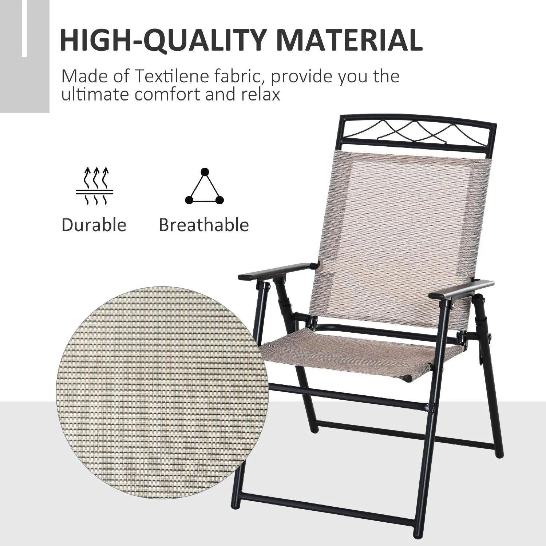 Questa sedia da giardino con braccioli effetto legno e schienale regolabile su 5 livelli ti permette di rilassarti all'aria aperta con la. Vivagarden Set Di 2 Sedie Pieghevoli Da Giardino Con Braccioli In Metallo E Textilene Beige E Nero 57384b