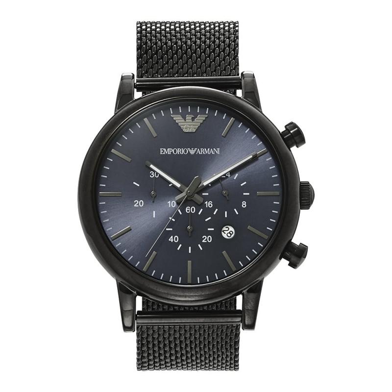 Emporio Armani 黑鋼藍面石英時尚運動腕錶 (AR1979) - Watchtify網上手錶專門店