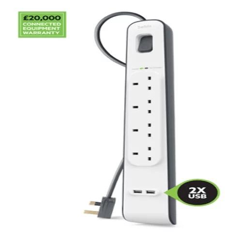 Belkin BSV401SA2M 2.4 安培 USB 充電 4 位防雷保護拖板 - MoboPlus