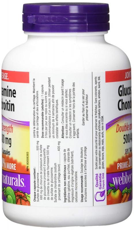 Webber Naturals關節健骨寶葡萄糖胺 + 硫酸軟骨素 500/400 144粒 - Vitamin HK