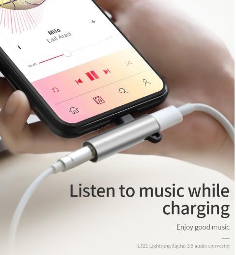 Lightning轉接頭適用於蘋果Apple iPhone 11/Pro/Pro Max耳機音頻轉接頭帶扣充電聽歌二合一轉3.5mm孔 - AOE