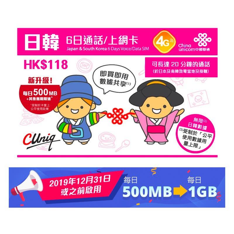 中國聯通 - (通話版)6日日本及南韓4G/3G無限上網卡數據卡Sim卡電話卡 - 啟用期限: 30/09/2020 - L&T Communication