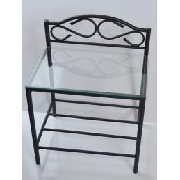 table de chevet shelbyville design en metal et verre trempe et de coloris noir