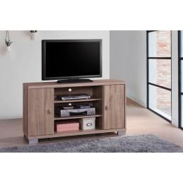 meuble tv belek 120 cm a 2 portes et 3 niches coloris sonoma