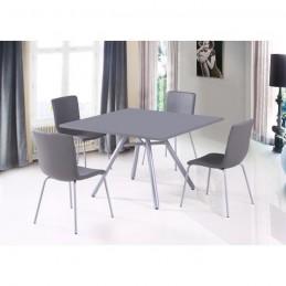 ensemble table et 4 chaises texas gris ideal pour votre salle a manger pieds inclines type scandinave