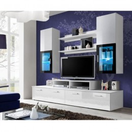 meuble tv mural design mini 200cm blanc