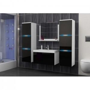 salle de bain complete luna blanc et noir facade laque brillante high gloss