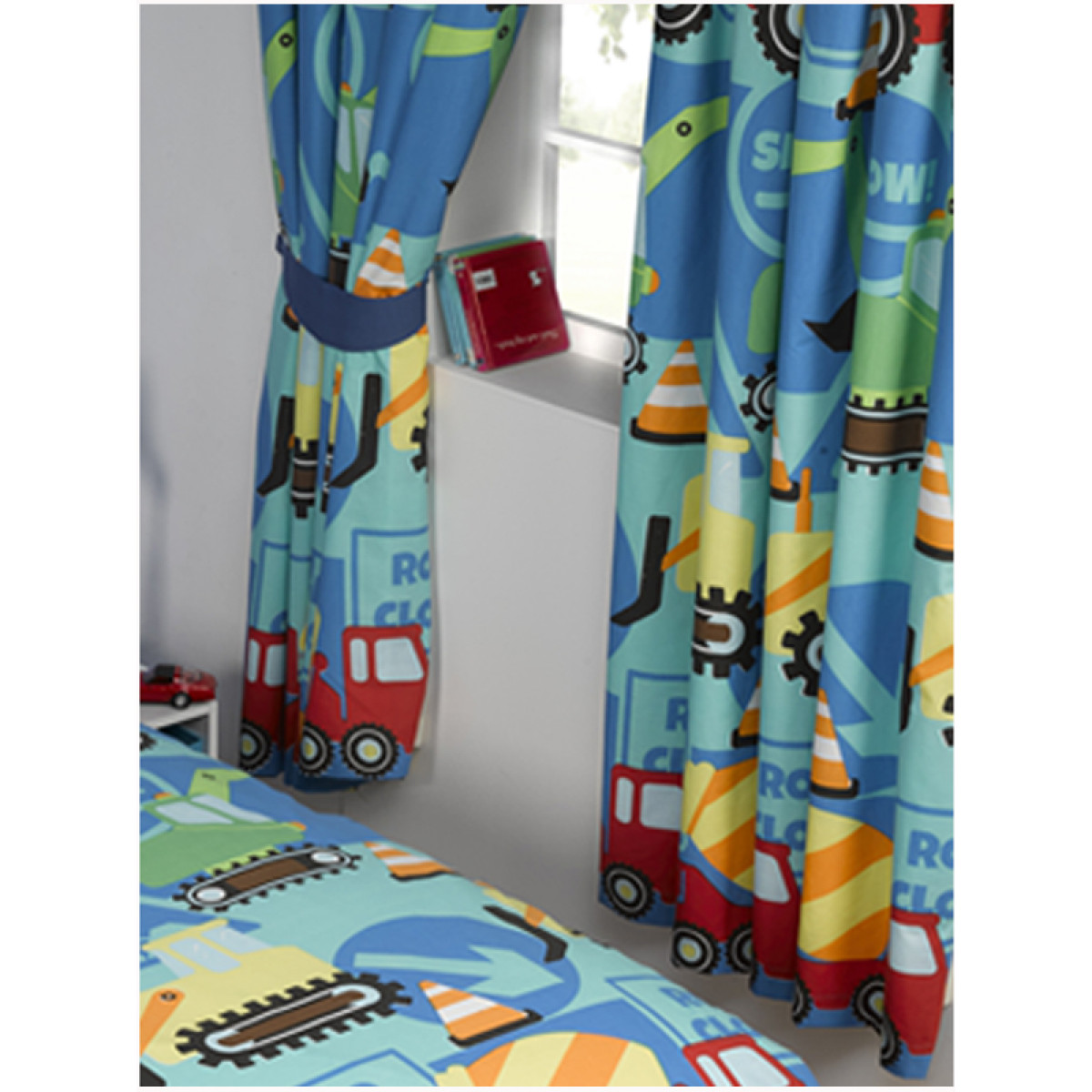 Construction Time Lined Curtains  Bedroom  Diggers  Boys