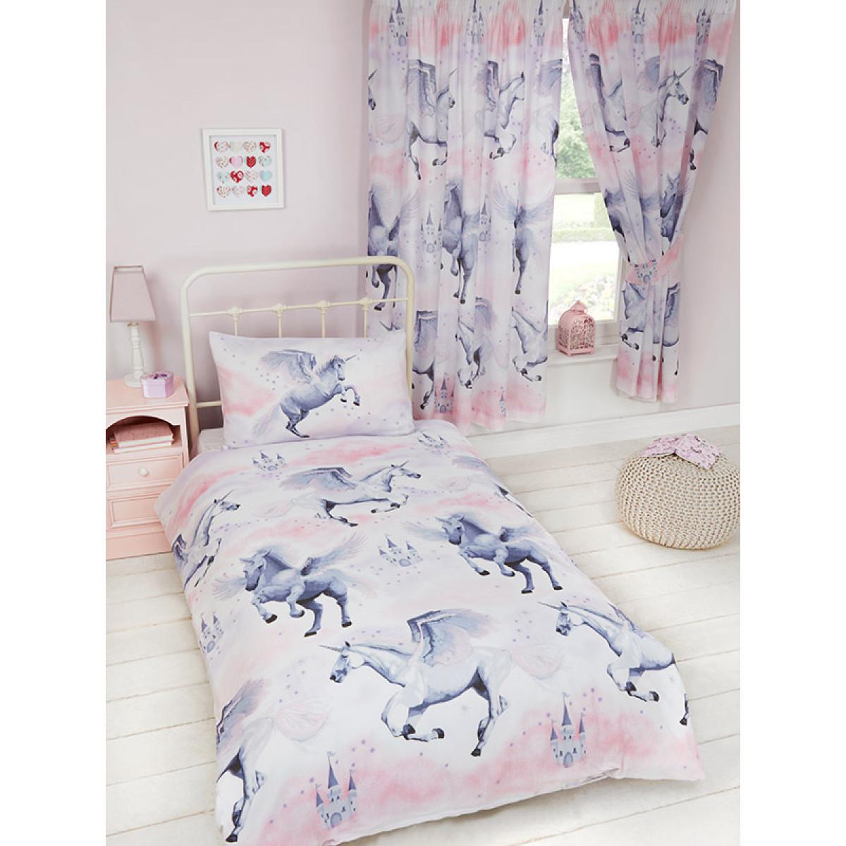 Pink Stardust Unicorn Single Duvet Cover  Pillowcase