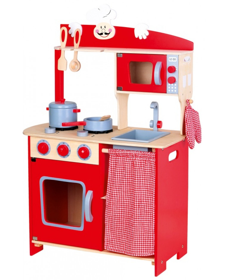 kids wooden kitchen homestyles island chef role play toy with accessories mini plus