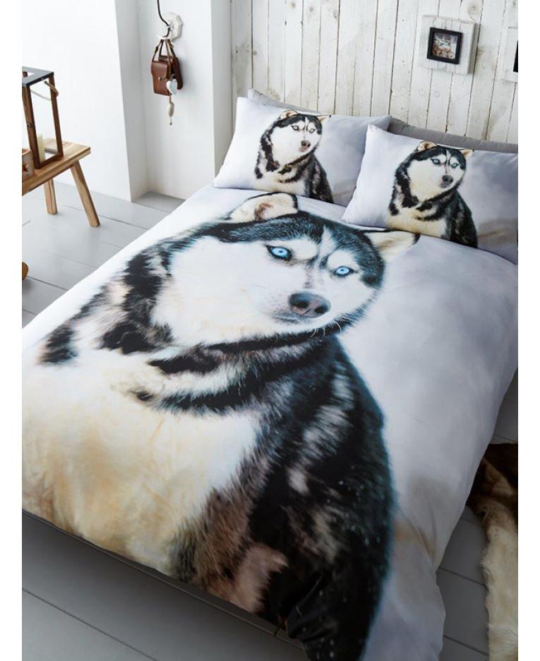 Animal Print Wallpaper Uk Husky Dog Single Duvet Cover And Pillowcase Set Bedroom