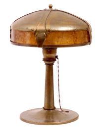 Desk Lamp; Roycroft, Hammered Copper, signed, 14 inch.