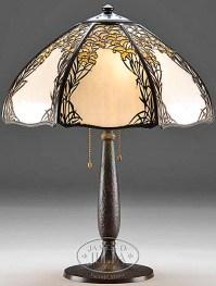 Table Lamp; Handel, Overlay, Slag Glass Panels, 22 inch.