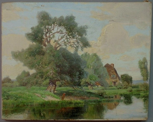 Wiegand Gustave Adolph Oil On Canvas Painting Signed