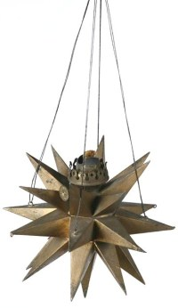 Hanging Lamp; Moravian Star, Oil, Tin, Gold Paint, 5 inch.