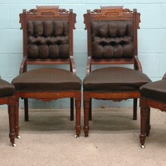 Eastlake Victorian Parlor Chairs Folding Lounge Chair Walmart Furniture Suite Walnut
