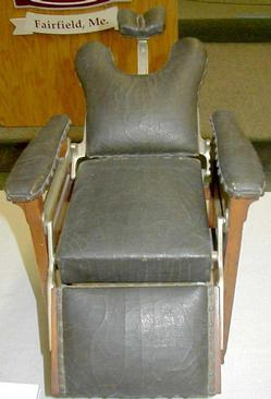 antique wood barber chair grey and yellow accent chair; koken, salesman's sample, recliner, 16 inch.