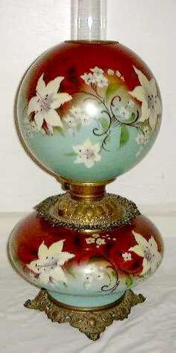decorative glass jars for kitchen ceramic tiles parlor lamp; victorian, green & red hand-painted font globe.