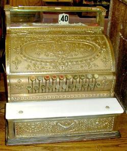 decorative glass jars for kitchen led light fixture cash register; national, model 333, brass plated, marble ...