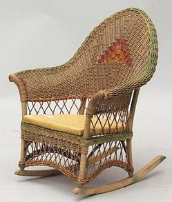 heywood wakefield wicker chairs light wood upholstered dining furniture children s rocking chair a child rocker with scrolled arms and leatherette seat probably image courtesy of york town auction inc