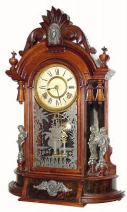 Shelf Clock Ansonia Triumph Walnut Mirror Side 25 inch