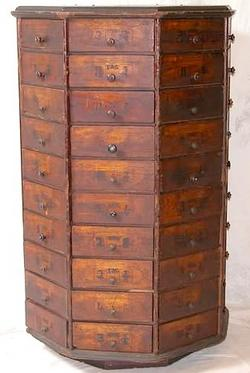 Store Cabinet; Hardware, Revolving, Octagon, 80 Drawers, 4 ft.