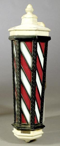 decorative glass jars for kitchen butcher block islands barber pole; koken, wall mount, electric, slag glass, 33 inch.