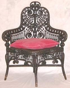 heywood wakefield wicker chairs free adirondack chair plans templates furniture corner photographer s a with stick ball and scroll motifs image credit on full record
