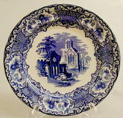 decorative glass jars for kitchen and bath showrooms transferware-blue; jones & sons, plate, abbey 1790, 11 inch.