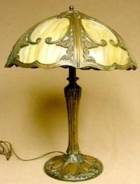 Table Lamp; Empire Lamp Co, Bronze, Slag Glass Shade.