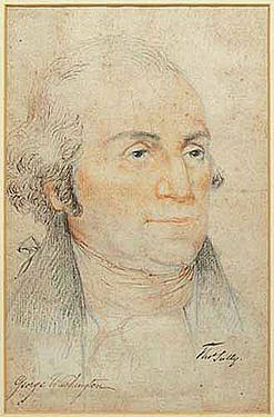Sully Thomas Crayon Amp Ink Drawing Inscribed George Washington 11 Inch
