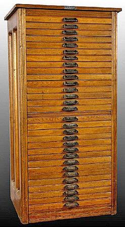 Furniture Cabinet Hamilton Mfg Typesetter Oak 30