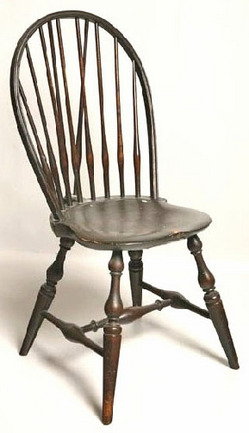 Furniture: Windsor Chair-Side; Bow-Back, Brace-Back