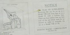 Radio; Zenith, Super VII, Receiving Set, Battery.