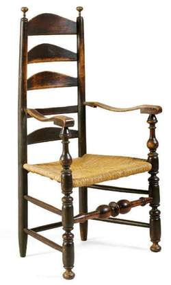 antique ladder back chairs value chair covers australia wholesale furniture: chair-arm; ladderback (delaware valley), black paint, 4 arched slats, rush seat.