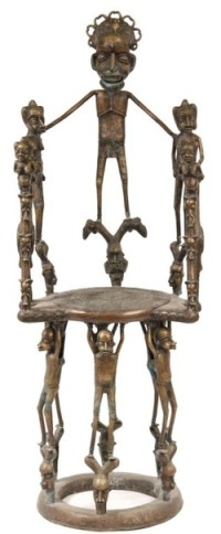 Furniture: Chair-Throne; African, Benin, Bronze, King ...