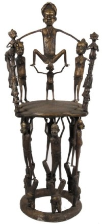 Furniture: Chair-Throne; African, Benin, Bronze, Figure of ...