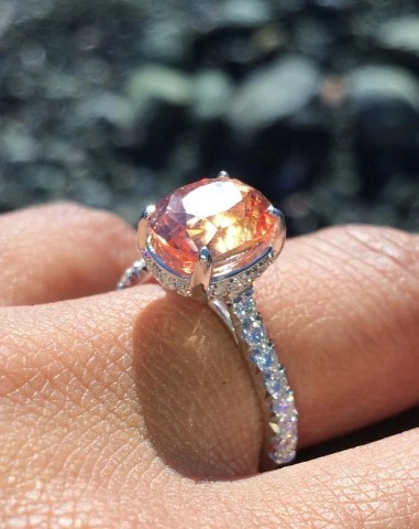 Jewel Of The Week Padparadscha Sapphire Engagement Ring