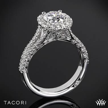 18k Rose Gold Tacori HT2548CU Petite Crescent Split Shank Halo Diamond Engagement Ring