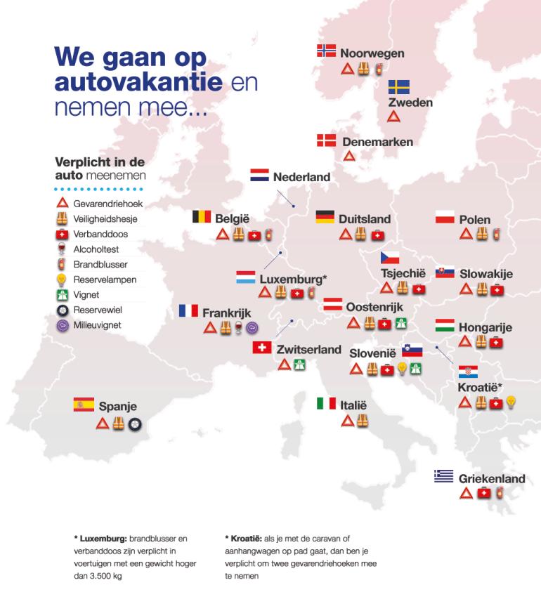 Infographic met alle verplichte tools voor in de auto in Europa