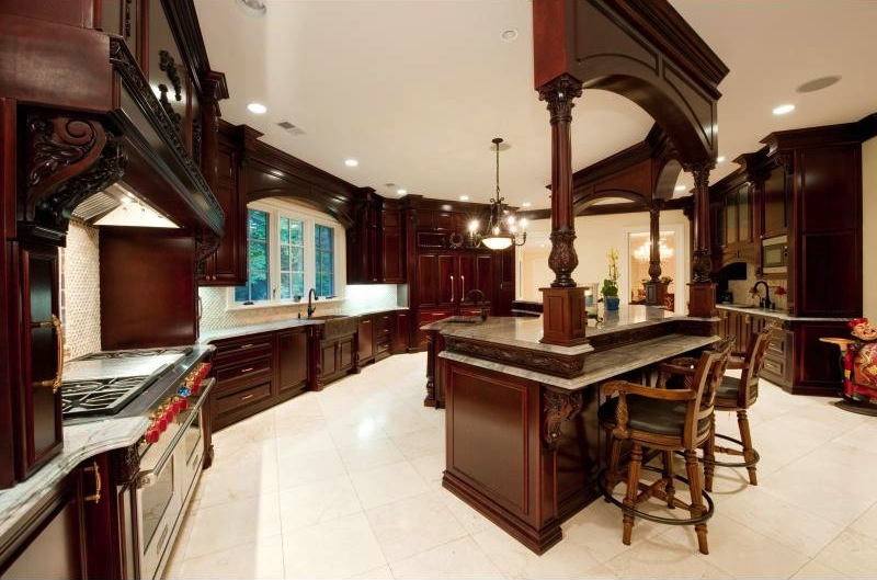 kitchen island large on a budget exquisite stone mansion - $19,000,000 pricey pads