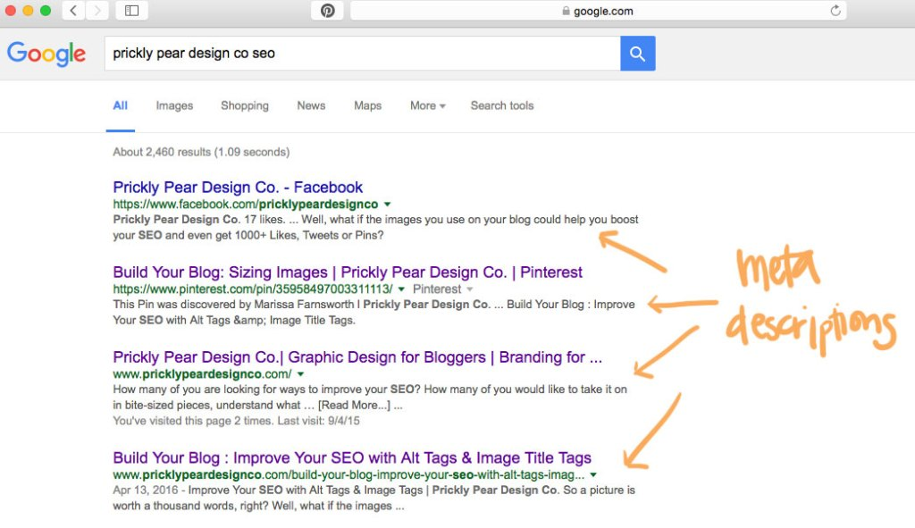 Where to find a meta description in a web search | Meta Descriptions | 5 tips for writing awesome meta descriptions that will grow your audience | Prickly Pear Design Co. | Small Business Marketing | DIY Web Design | Creative Entrepreneurs