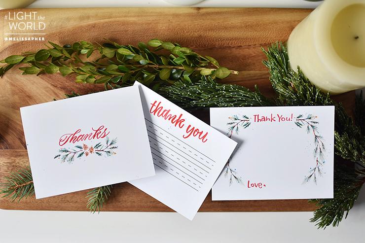 #LightTheWorld Gratitude Cards by Melissa Esplin | Prickly Pear Design Co. | DIY printable Holiday Cards