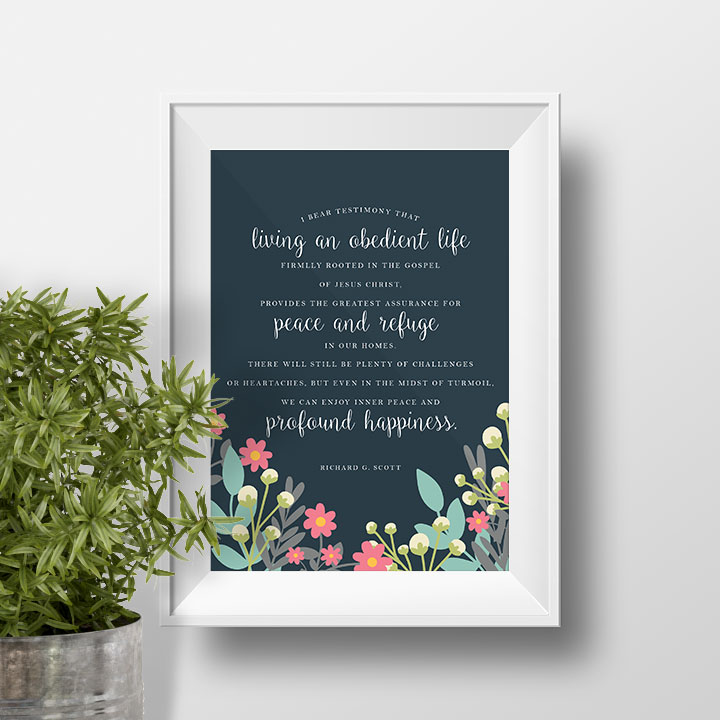 Profound Happiness Printable | Visiting Teaching | December 2016 | Relief Society | Young Women Printables | DIY Home Decor | Prickly Pear Design Co.