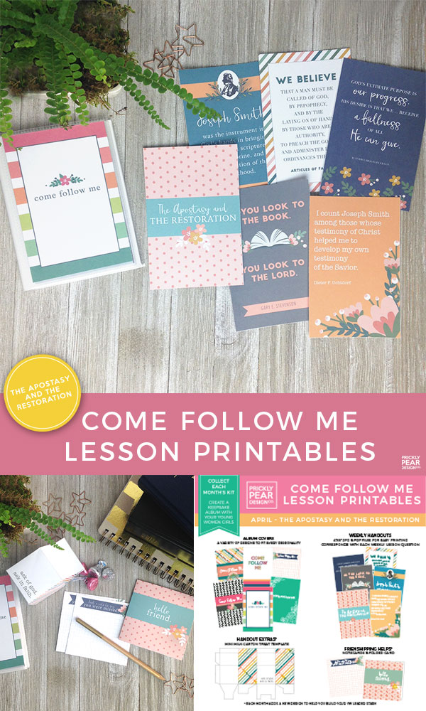 April Come Follow Me Lesson Printable | The Apostasy & The Restoration | LDS Printables | Young Women Printables | Prickly Pear Design Co.