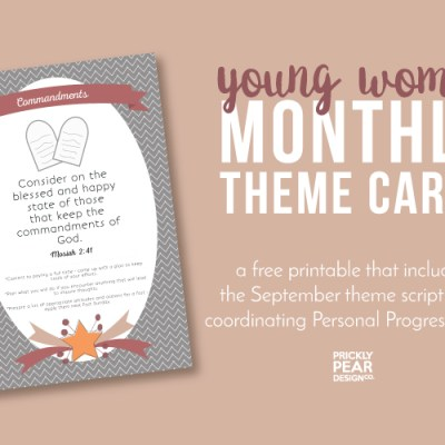 YW Monthly Theme Card | September – Commandments | Free YW Printable