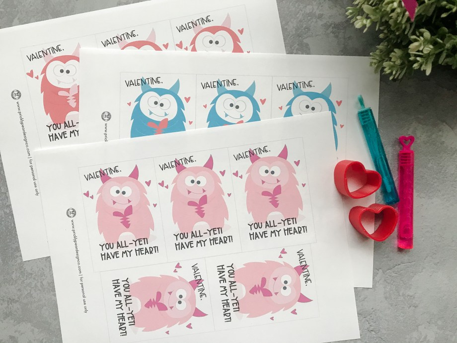All Yeti Yours Classroom Valentine Idea from Prickly Pear Design Co.